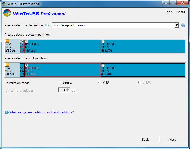 Instalar windows usando wintousb elegir unidad